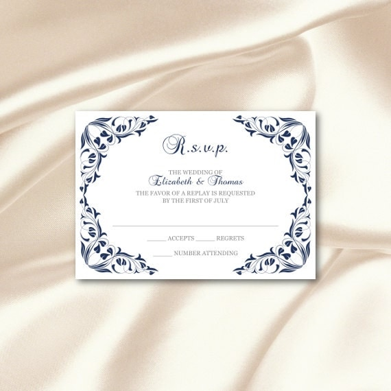 Navy Wedding Information Cards Template Elegant RSVP Cards – Wedding Information Card Template