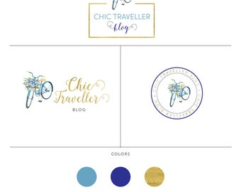 Blogger Branding Package  Travelling Blog Header  Business Branding  Branding Design Kit  Premade Logo Watercolor Flower Bouquet