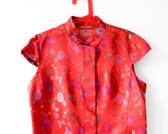 Alain Manoukian-Asian Top-Vintage Asian Blouse-Red Asian Dragon Top-Chinese Top-Button Up Blouse-Asian Inspired Blouse
