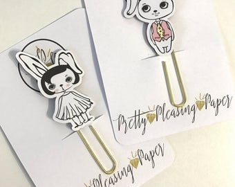Doodle Bunny Couple Rabbit Paperclip