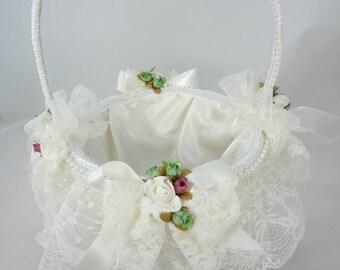 Flower Girl Basket, Card Basket, Decorative Basket, Wedding Basket, Off White Lace, Silk Roses, Satin Ribbons, Pearls