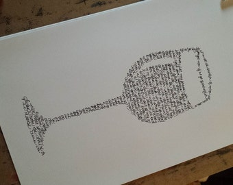 "Dave Matthews Band ""Bartender"" Handwritten Lyric Silhouette -  BIG!! 11.5""x17.5"" PRINT - Lyric Art -  In Stock!"