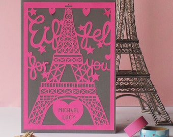 Paris Paper Cut Card, Eiffel Tower Paper Cut, Paris Paper Cut, City Paper Cut, Paris Valentines Card, Valentines Card, Valentines Paper Cut