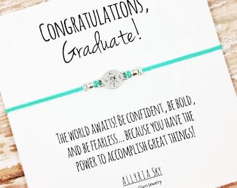 "Charm Friendship Bracelet with ""Congratulations Graduate"" Card | School Leaving, Graduation Gift Jewelry | High School, College Graduation"