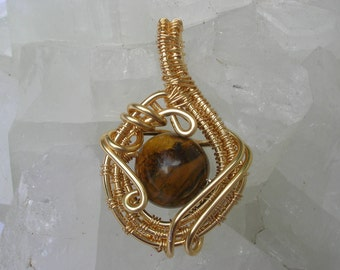 """Golden Tiger's Eye Wire Wrapped Fairy Gemstone Pendant """"Empowered Fortitude Bubble""""  Amulet Golden Ray Clarity, Strength, Vigor & Vitality"""