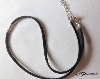 Classic Black Choker Necklace Silver Filigree Simple Bead Choker (Choose Length)