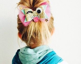 Emoji Wink Hair Bow - Emoji Wink hair clip, Emoji Wink headband, Emoji glitter bow 3 WEEK TURNAROUND