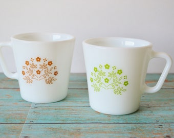 2 Pyrex Summer Impression Milk Glass Coffee | Tea Cups - Honeydew and Ginger Pattern