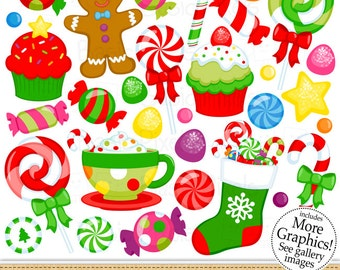 Christmas Candy Clipart - Digital Clip Art - Christmas Elements - Personal and commercial use