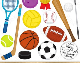 Sports clipart - Digital Clip Art - Personal and commercial use - Sports Balls