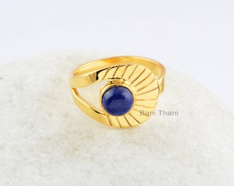 Beautiful Lapis Ring-Round 6x6 mm-Silver Ring-New Design Ring-Handmade Ring- Gemstone Ring
