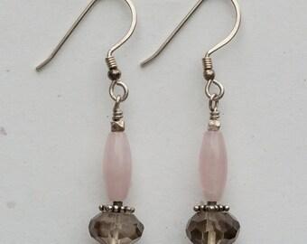 Smoky Quartz and Rose Quartz Earrings