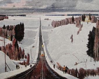 Winter Near Moscow - Artist G. Nissky - Vintage Soviet Postcard, 1952. Sovetskiy hudozhnik Publ. Road, Forest, Snow, Bus, Sunny Day