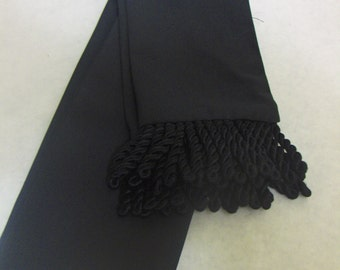 Black Cotton Twill Sash w/Black Fringe for Pirate, Ren Faire, Cosplay