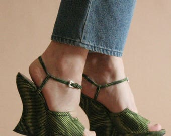 90s sculpted PRADA psychedelic green striped wedge sandals / 36 - 36.5  3 - 3.5  5.5 - 6