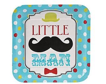 Lil' Man Party Plates / Mustache theme/ mustache / Little Man / Mustache Party Plates