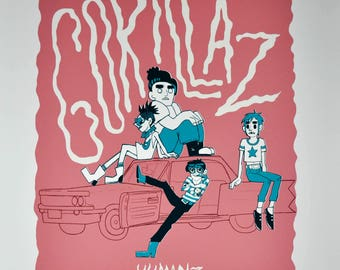 Gorillaz HUMANZ Silkscreened Poster (Glow in the Dark Text) - LIMITED EDITION