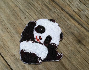 Panda Patch, Vintage Embroidered Patch, Animal Patch, Patch, Applique Iron On Patch
