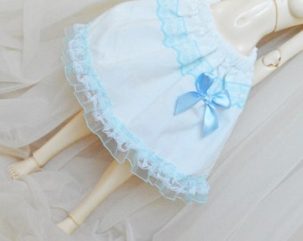 MSD BJD 1/4 doll clothes - fits minifee and also iplehouse jid - short lolita blue and white skirt with lace and frill - wide and puffy blue