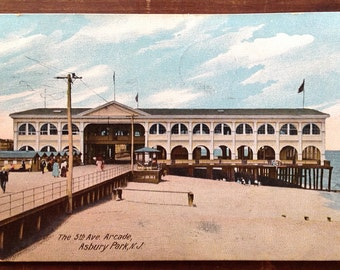 Asbury, Park, NJ, Vintage Postcard, 1910, Fifth Avenue Arcade showing beach and boardwalk, Asbury Park