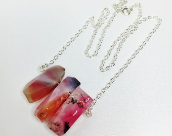 Pink Agate Necklace Pink Shard Pendant Multicolour Pink Stone Jewelry Raw Gemstone Necklace Unique Gift for Wife Girlfriend Gift Under 20