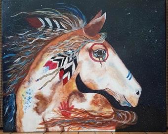 Native American War Pony Original Hand-Painted Acrylic