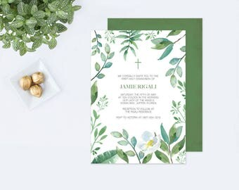 Customizable Text GREENERY BAPTISM INVITATION, Greenery First Communion, Boys First Communion, diy Invites, Leaf Editable Template Invite