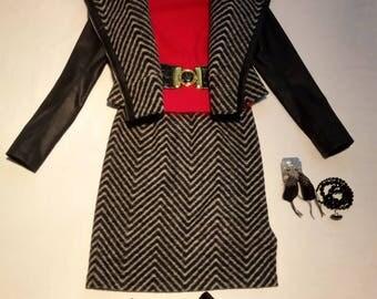 Jacket with black eco leather inserts