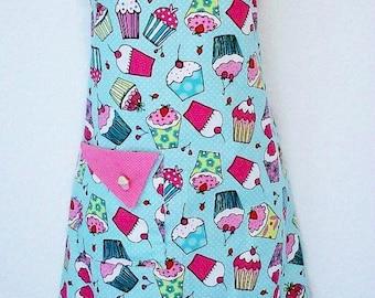 PLUS SIZE Apron, Cupcake Apron, Cute Retro Apron, Aqua, Pink Polka Dots, Cupcakes, Womens Full Apron, KitschNStyle