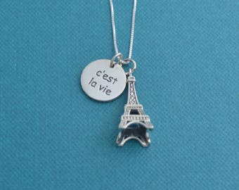 C'est Lavie  Eiffel Tower necklace in sterling silver.  Eiffel Tower necklace.  C'est la vie necklace. Travel Jewelry.  Travel Necklace.