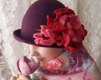Felt wool hat .Women felt hat. Wet felting.Natural wool.Felt flower.Purple felt hat.Pink flower.
