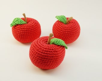 1 Pcs - Crochet red Apple, crochet fruit, teether teeth, play food, kitchen decoration,eco-friendly toys,Pretend Play, Crochet food Play