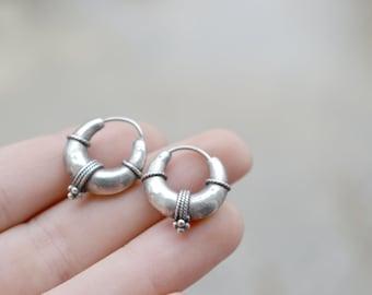 Sterling Silver Puffy Hollow Rope Nauical Hoop Earrings