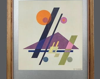 Vintage Rudolf Bauer Poster Art Print Geometric Abstraction