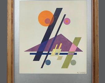 Vintage Rudolf Bauer Poster Art Print Geometric Abstraction