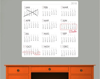 2018 YEARLY CALENDAR Dry Erase decal - Erasable surface wall decals by GraphicsMesh