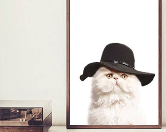 Hipster Persian Cat Art Print, Cat Art, Home Decor, Wall Art, Retro Art, Animal Art, Cat lover Gift