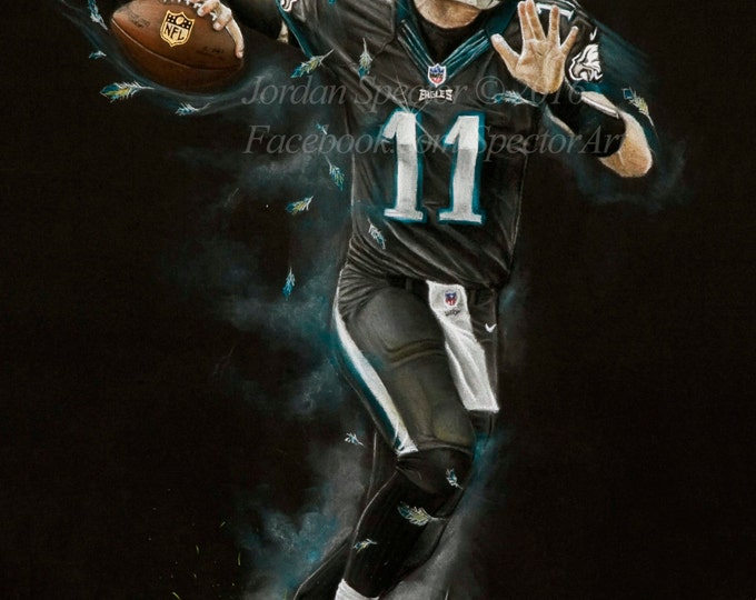 Featured listing image: Philadelphia Eagles - Carson Wentz Art Print - Carson Wentz - Wall Art- Man Cave Art - Eagles Decor - dorm decor - Eagles Gifts - Gift Idea