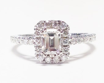 1.25CT Diamond Emerald Cut Halo Engagement Ring Anniversary Band Wedding Bands Rings Diamonds Platinum, 18K, 14K White, Yellow, Rose Gold