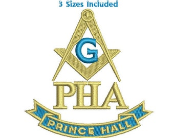 PHA Prince Hall with Compass Masonic embroidery pattern 3 sizes Machine embroidery design Digital Download