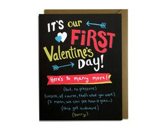 Funny Valentine's Card - First Valentines Day, New Couple, For Her, For Him, Sarcastic, Awkward