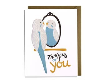 Funny Love Card - Friend, Thinking of You, Miss You, Bird Parakeet Card