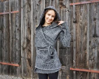 wool-wrap-jacket I grey-wrap-coat I grey hooded coat I Woolcoat I loose fit wooljacket
