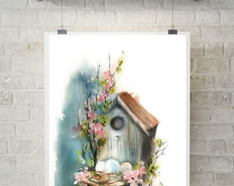 Bird house and florals art print, Easter art, nest with eggs, watercolor print, giclee print, watercolour painting art print