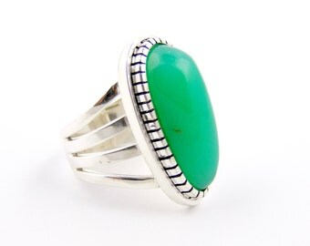 Stunning Electric Green Chrysoprase and Sterling Silver Ring by TK