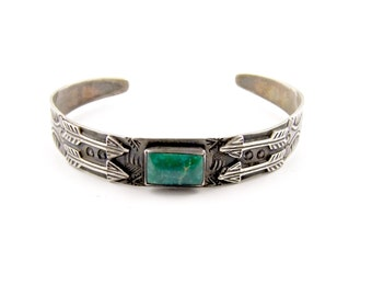 Vintage Patinated Fred Harvey Era Cuff w/ Green Turquoise