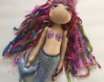 SALE - Mermaid Doll, Handmade doll, Cloth art doll, Haute couture doll, fiber art doll, fabric doll, designer doll, poppet, fashion doll