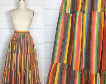 Vintage 1970s Handwoven Rainbow Stripe Guatemalan Skirt / Tiered / Tassels / Full Skirt