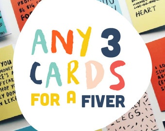 Any 3 assorted cards for a fiver - PICK AND MIX