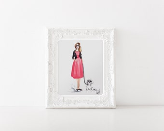 Girl with Bichon Havanese - Fashion Illustration, Dog illustration, Bichon Bolognese art, Bichon Havanese art, Dog print, Fashion print
